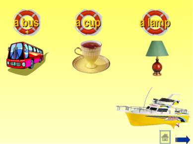 a bus a cup a lamp