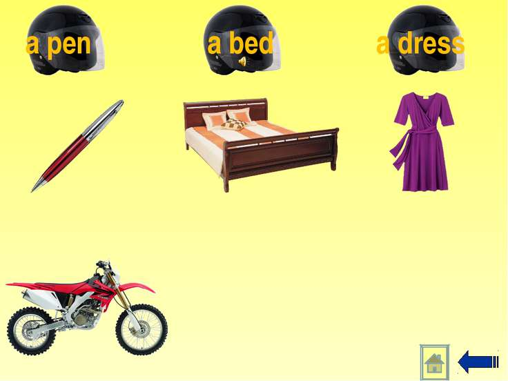 a dress a bed a pen