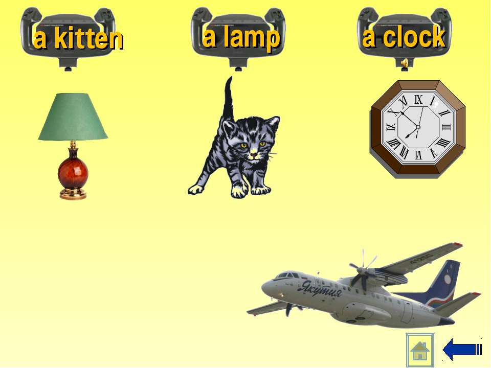 a kitten a lamp a clock