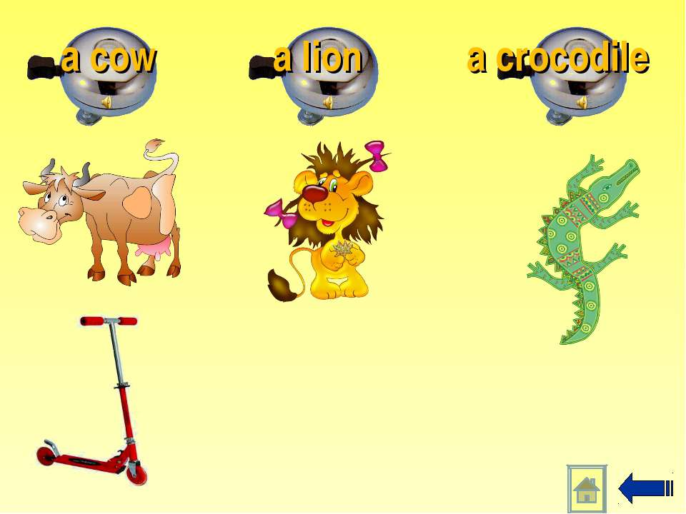 a crocodile a lion a cow