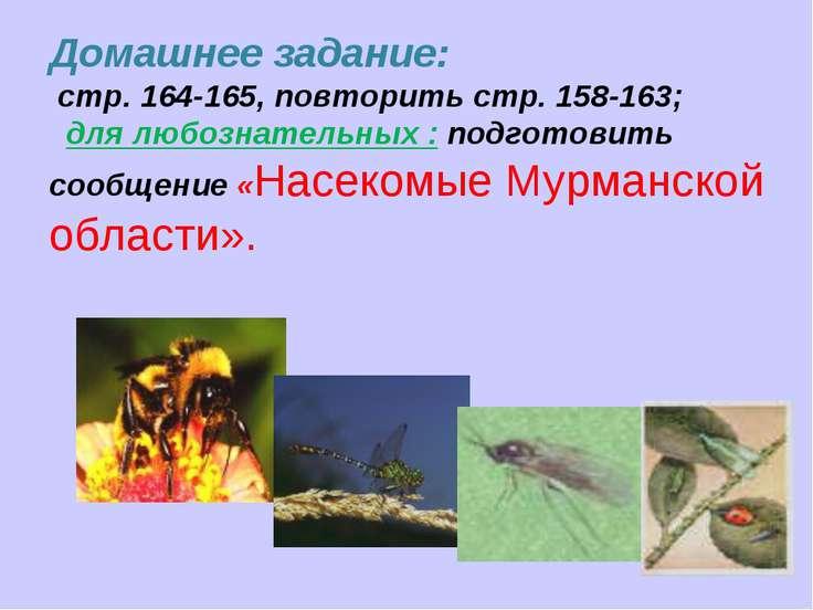 Домашнее задание: стр. 164-165, повторить стр. 158-163; для любознательных : ...