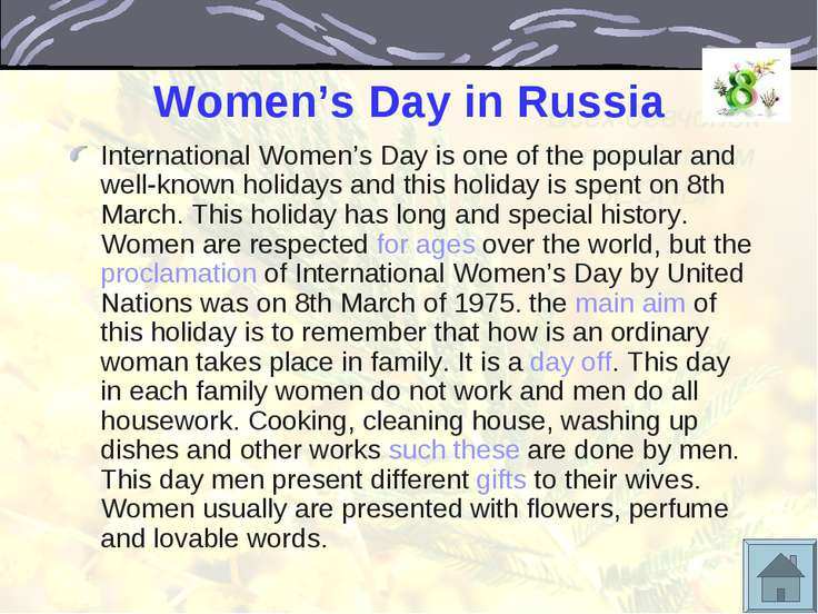Women's Day in Russia International Women's Day is one of the popular and wel...