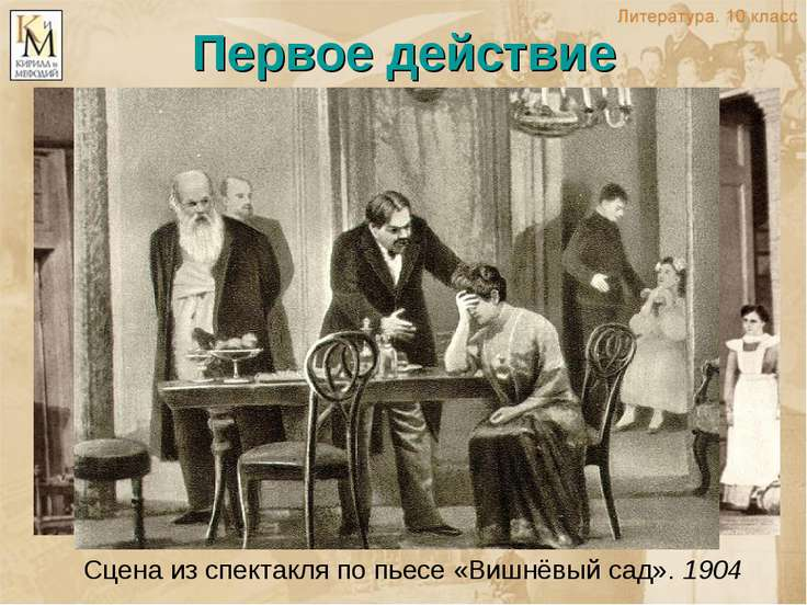 Первое действие Сцена из спектакля по пьесе «Вишнёвый сад». 1904