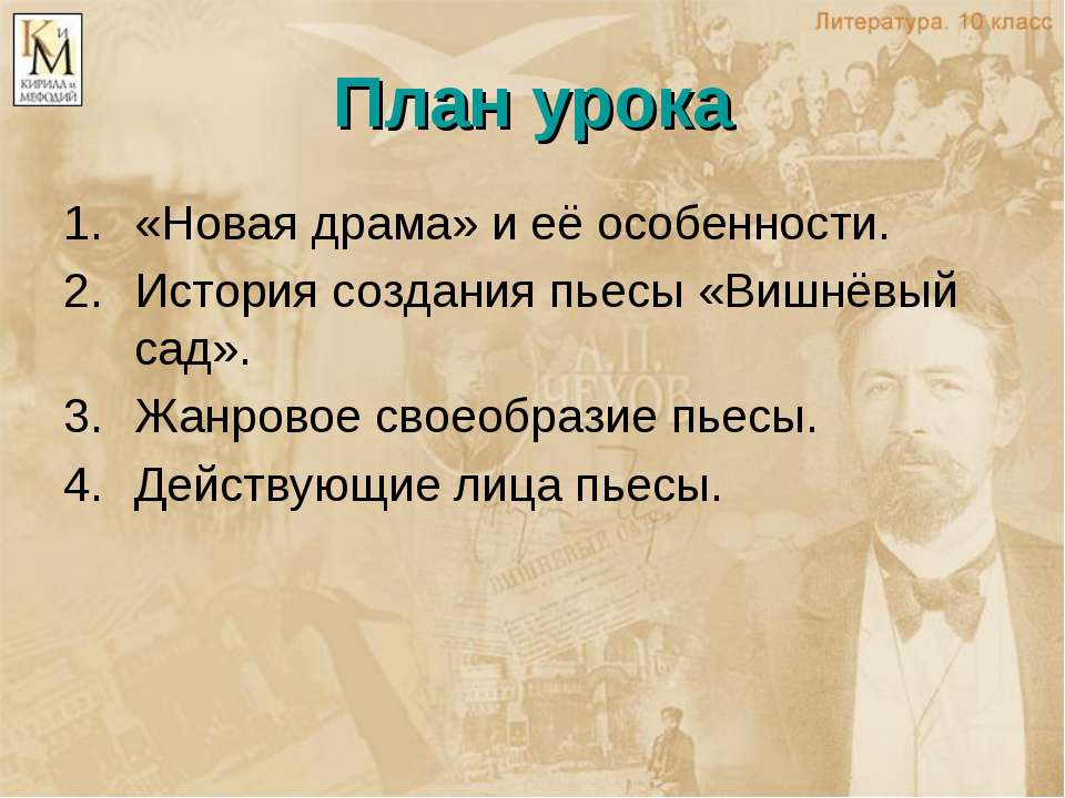 План урока «Новая драма» и её особенности. История создания пьесы «Вишнёвый с...