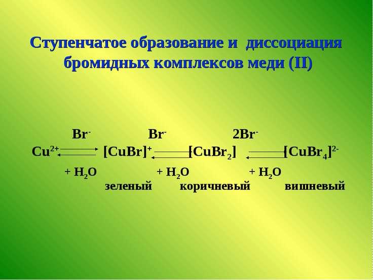 Br- Br- 2Br- Cu2+ [CuBr]+ [CuBr2] [CuBr4]2- + H2O + H2O + H2O Ступенчатое обр...