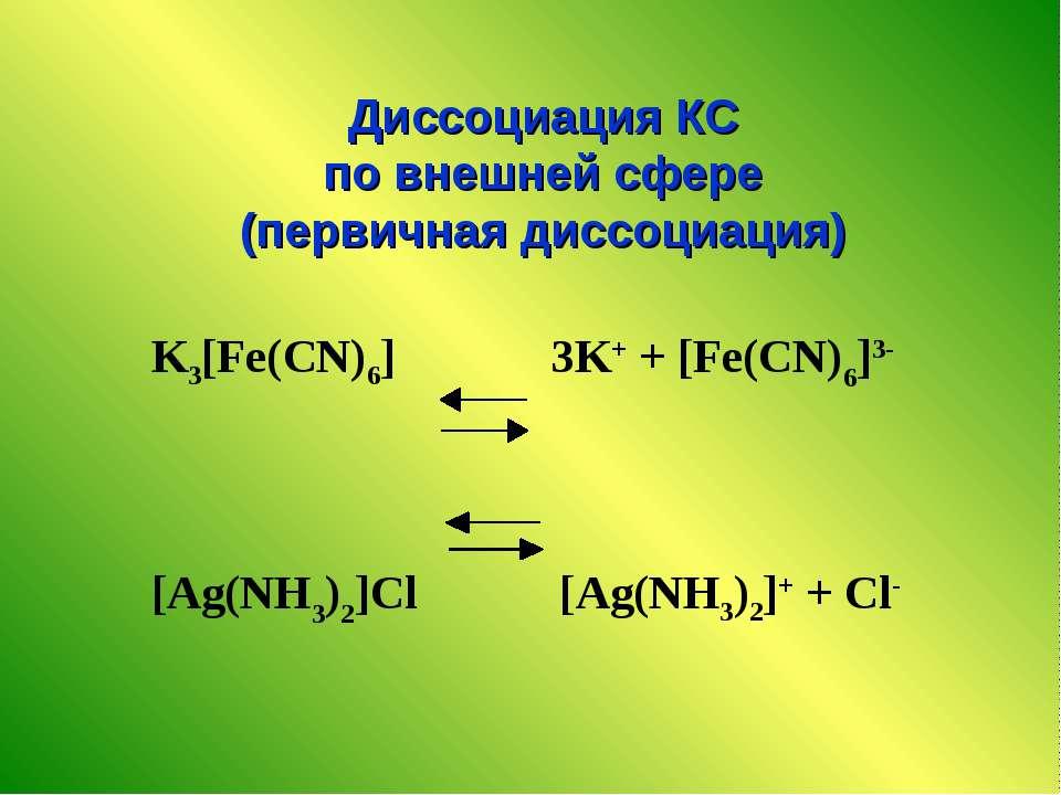 K3[Fe(CN)6] 3K+ + [Fe(CN)6]3- [Ag(NH3)2]Cl [Ag(NH3)2]+ + Cl- Диссоциация КС п...