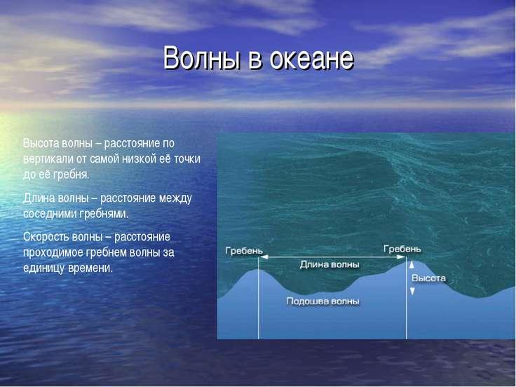 Волны в океане Высота волны – расстояние по вертикали от самой низкой её точк...
