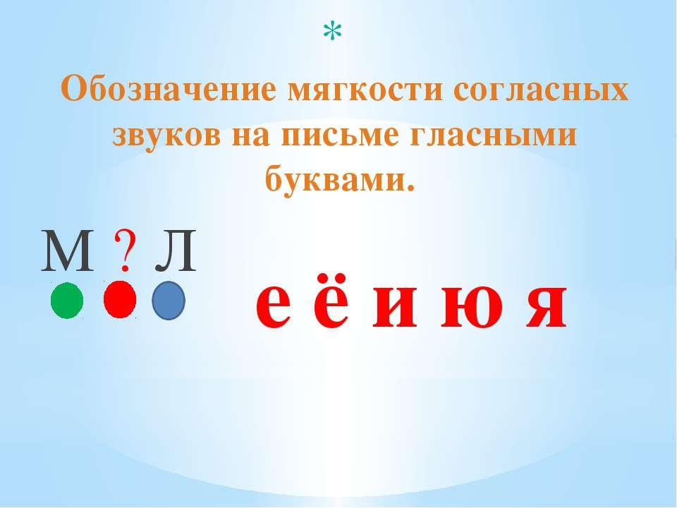 Обозначение мягкости согласных звуков на письме гласными буквами. е ё и ю я М...