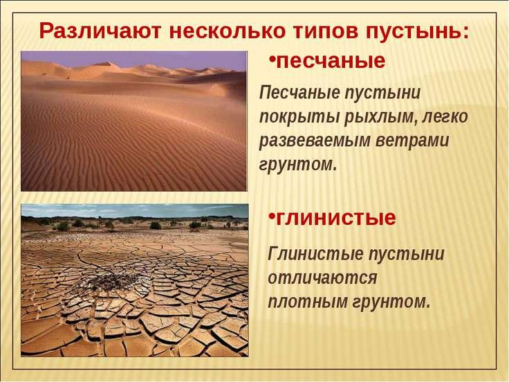 Различают несколько типов пустынь: песчаные Песчаные пустыни покрыты рыхлым, ...
