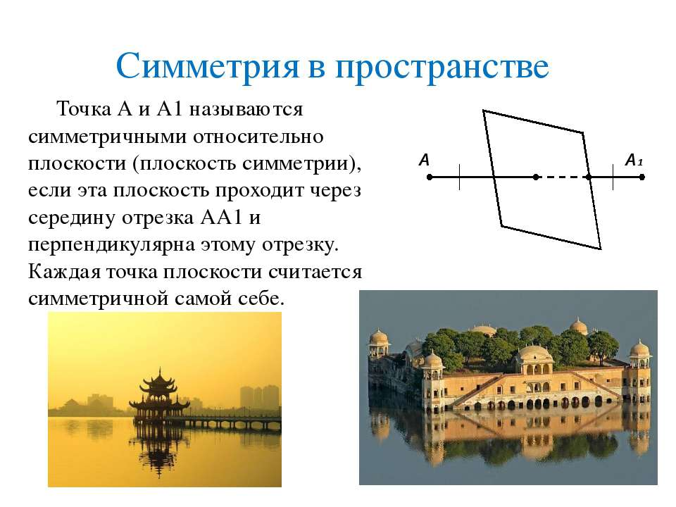 Симметрия в пространстве Точка А и А1 называются симметричными относительно п...