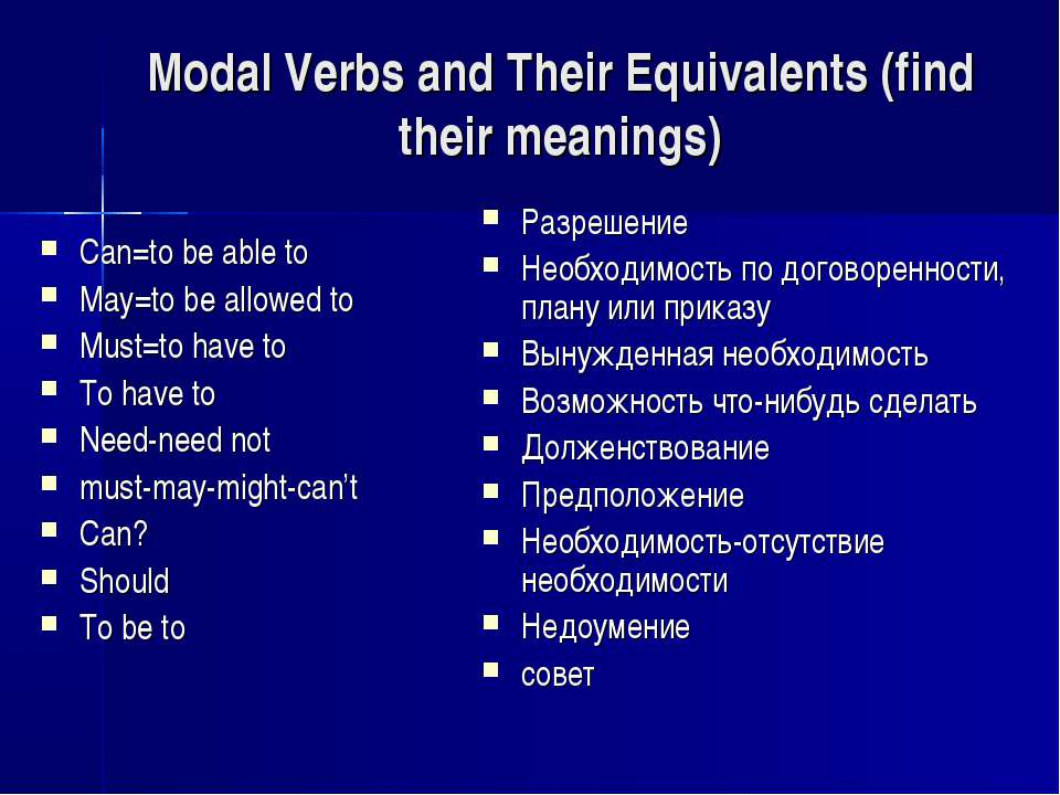 Modal Verbs and Their Equivalents (find their meanings) Can=to be able to May...