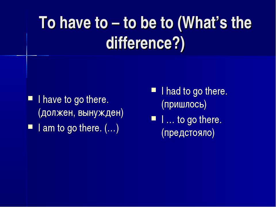To have to – to be to (What's the difference?) I have to go there. (должен, в...