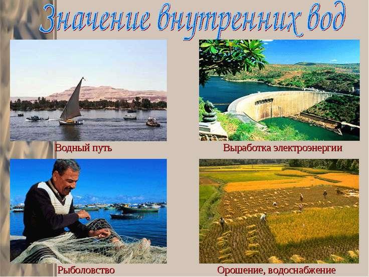 Водный путь Выработка электроэнергии Рыболовство Орошение, водоснабжение
