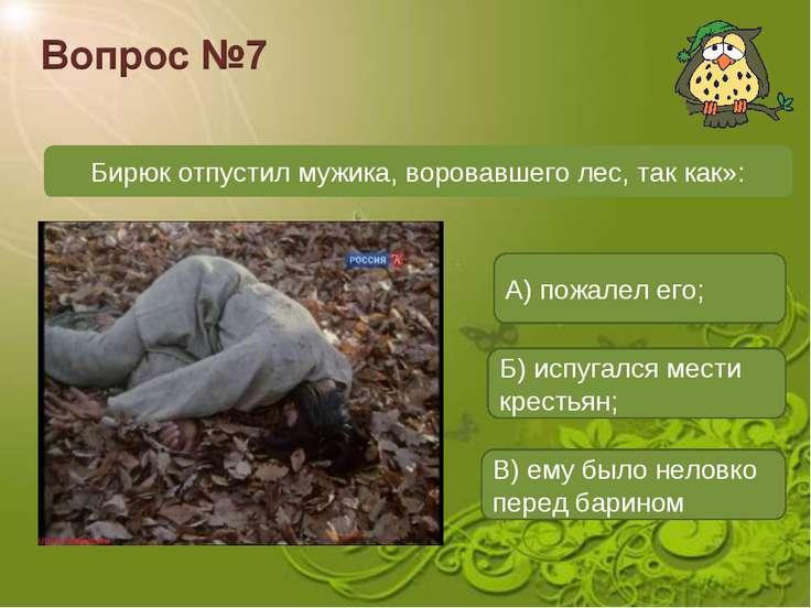 Бирюк отпустил мужика, воровавшего лес, так как»: А) пожалел его; Б) испугалс...
