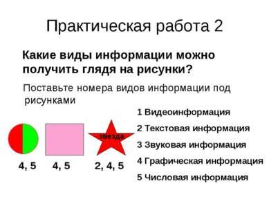 Практическая работа 2 Какие виды информации можно получить глядя на рисунки? ...
