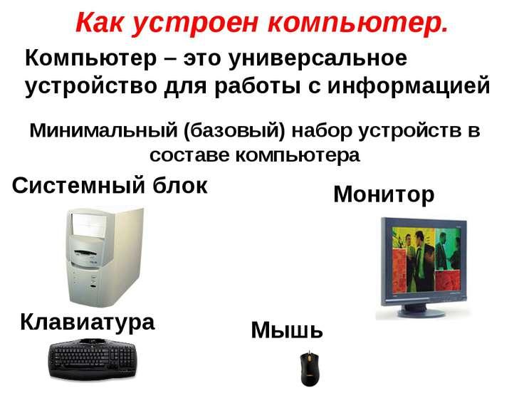Как устроен компьютер. Системный блок Минимальный (базовый) набор устройств в...