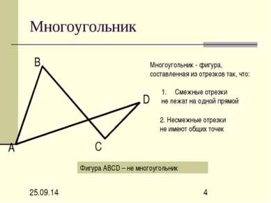 Многоугольник А В С D Многоугольник - фигура, составленная из отрезков так, ч...
