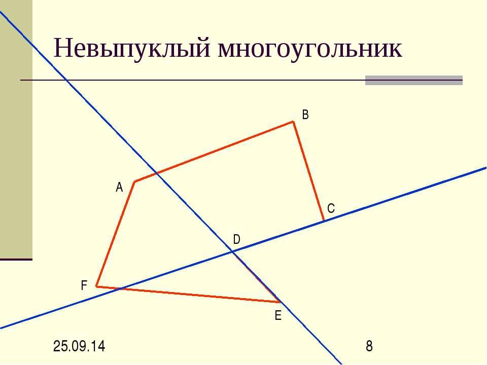 Невыпуклый многоугольник А В С D Е F
