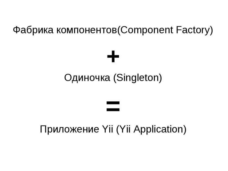 Фабрика компонентов(Component Factory) + Одиночка (Singleton) = Приложение Yi...