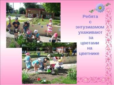 Ребята с энтузиазмом ухаживают за цветами на цветнике