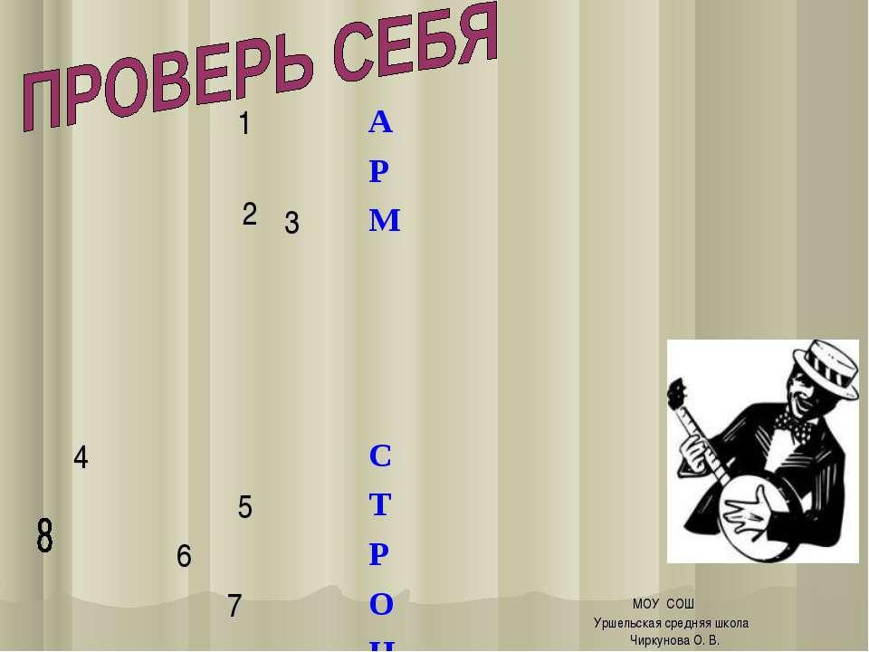 МОУ СОШ Уршельская средняя школа Чиркунова О. В. 1 2 А  Р 3 М 4 С 5 Т 6 Р 7 ...