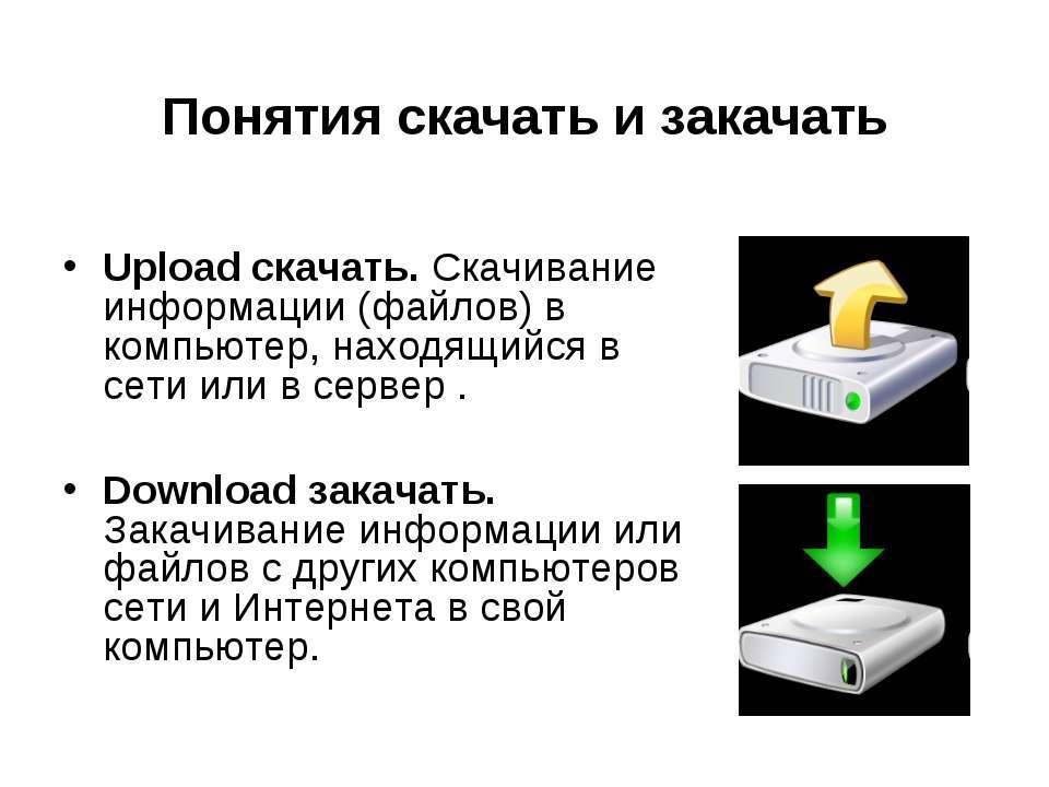 Понятия скачать и закачать Upload скачать. Скачивание информации (файлов) в к...