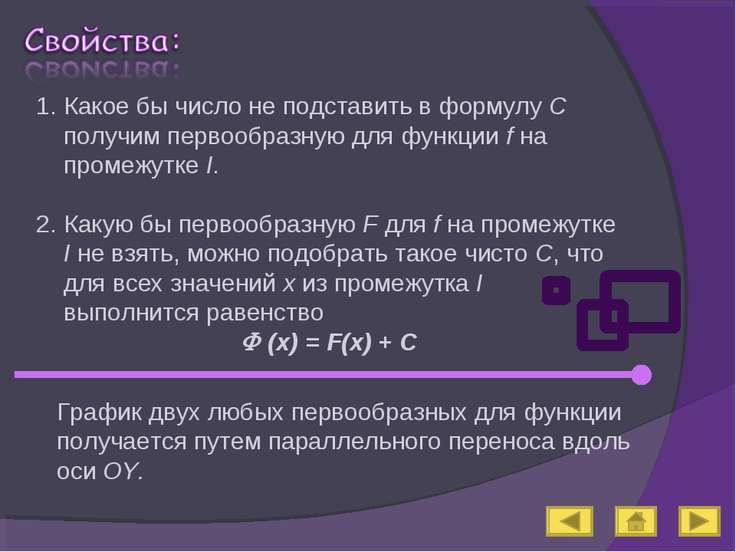 Какое бы число не подставить в формулу С получим первообразную для функции f ...