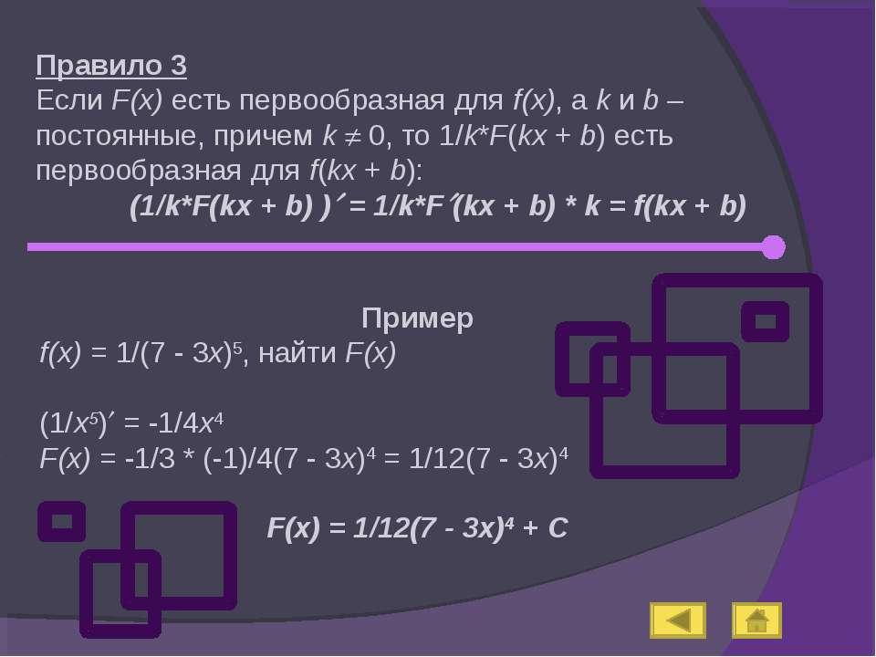 Правило 3 Если F(x) есть первообразная для f(x), а k и b – постоянные, причем...