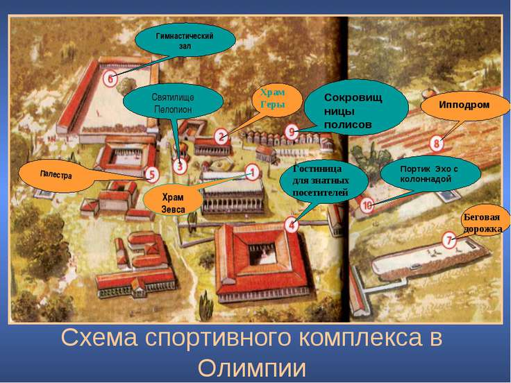 Схема спортивного комплекса в Олимпии Гимнастический зал Святилище Пелопион Х...