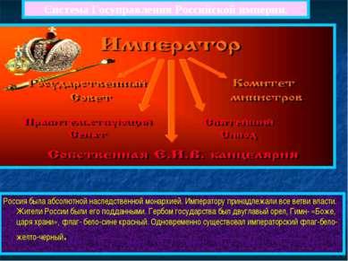 Система Госуправления Российской империи. Россия была абсолютной наследственн...