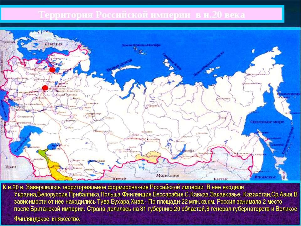 Территория Российской империи в н.20 века К н.20 в. Завершилось территориальн...