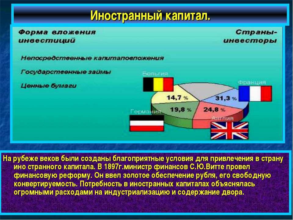 Иностранный капитал. На рубеже веков были созданы благоприятные условия для п...
