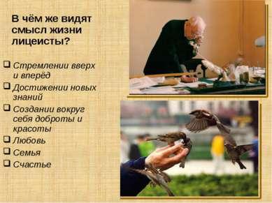 Стремлении вверх и вперёд Достижении новых знаний Создании вокруг себя доброт...
