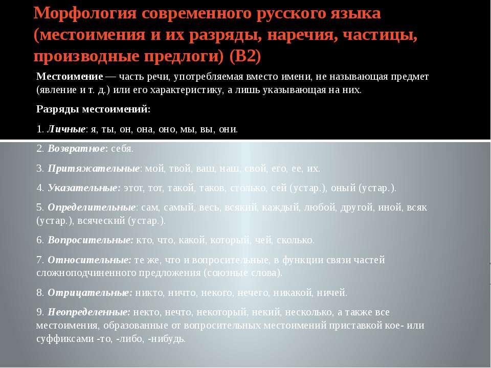 Морфология современного русского языка (местоимения и их разряды, наречия, ча...