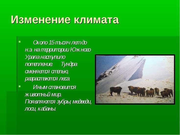 Изменение климата Около 15 тысяч лет до н.э. на территории Южного Урала насту...