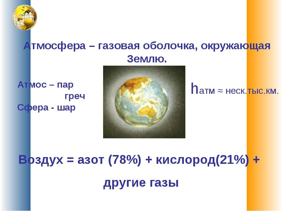 Атмосфера – газовая оболочка, окружающая Землю. ...
