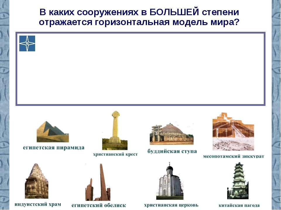 В каких сооружениях в БОЛЬШЕЙ степени отражается горизонтальная модель мира?