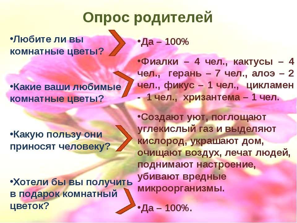 Опрос родителей Любите ли вы комнатные цветы? Какие ваши любимые комнатные цв...