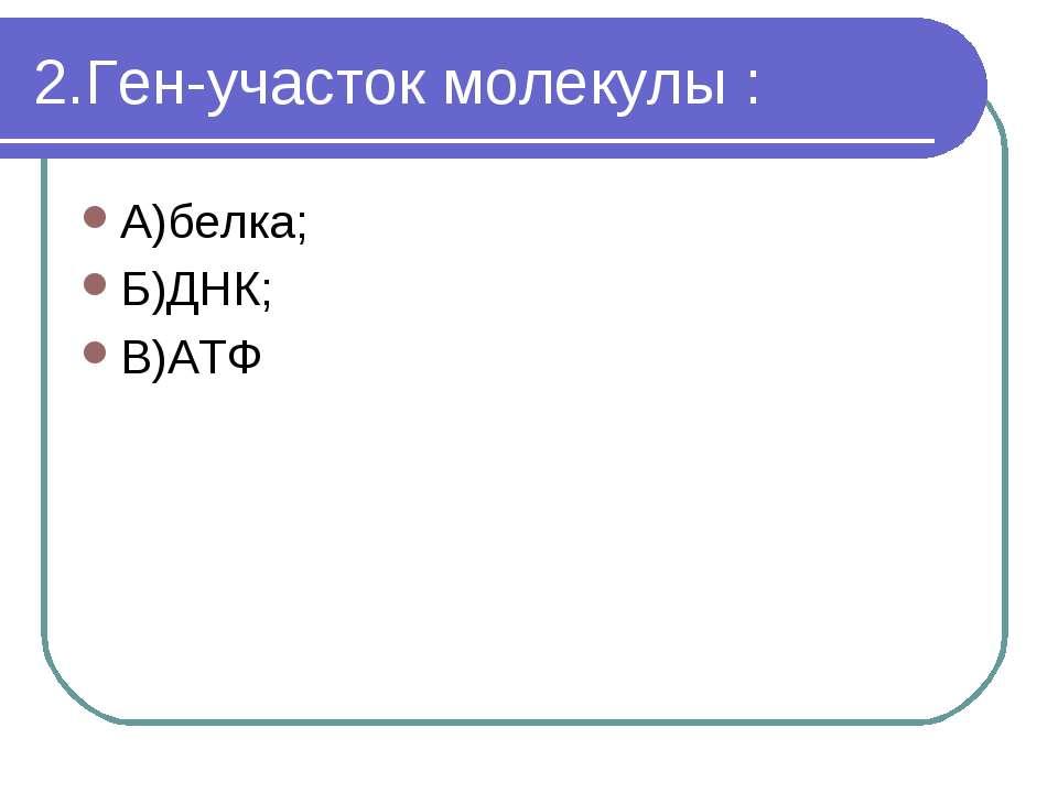 2.Ген-участок молекулы : А)белка; Б)ДНК; В)АТФ