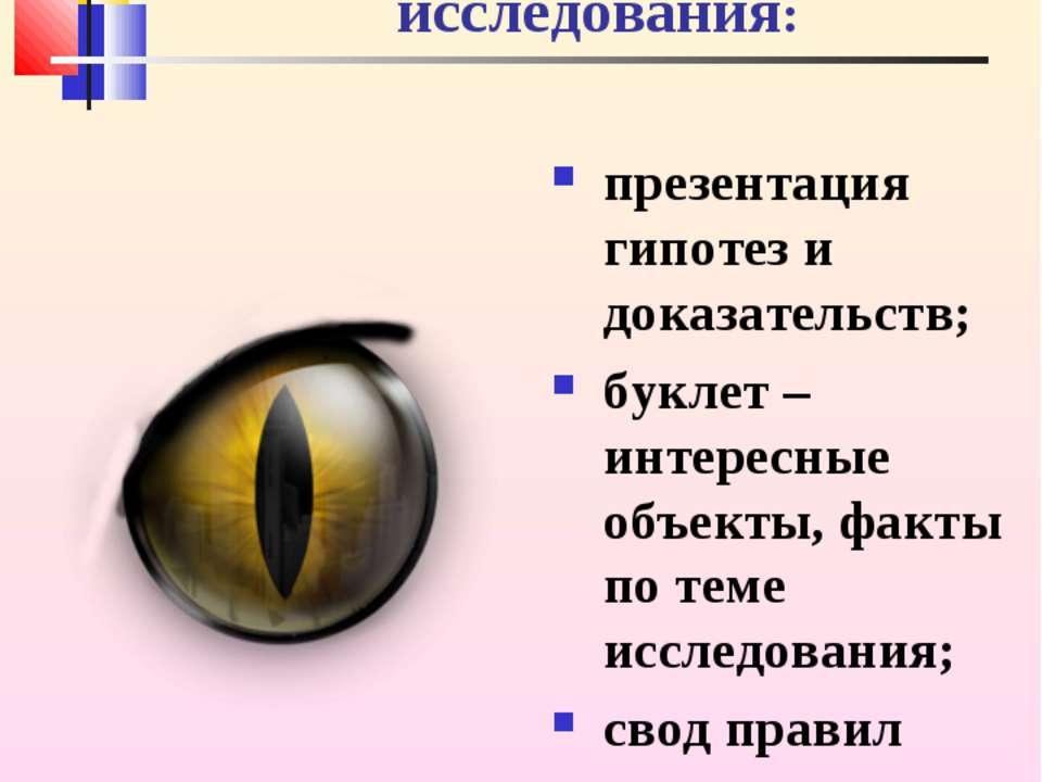 Результаты представления исследования: презентация гипотез и доказательств; б...