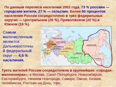 По данным переписи населения 2002 года, 73% россиян — городские жители, 27%...