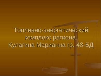 Топливно-энергетический комплекс региона. Кулагина Марианна гр. 48-БД
