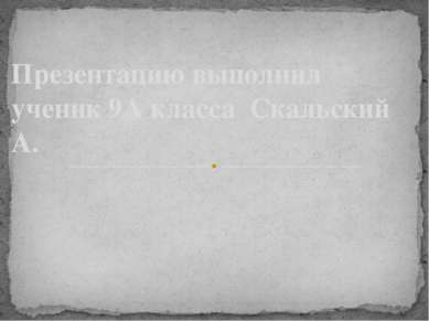 Презентацию выполнил ученик 9А класса Скальский А.