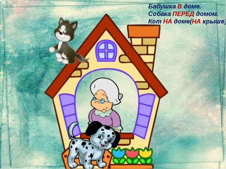Бабушка В доме. Собака ПЕРЕД домом. Кот НА доме(НА крыше).