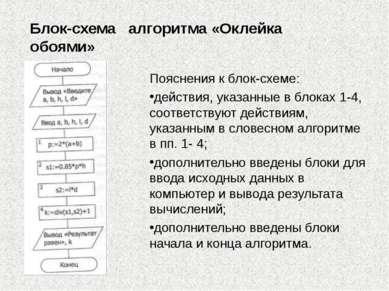 Блок-схема алгоритма «Оклейка обоями» Пояснения к блок-схеме: действия, указа...