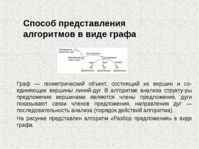 Способ представления алгоритмов в виде графа Граф — геометрический объект, со...