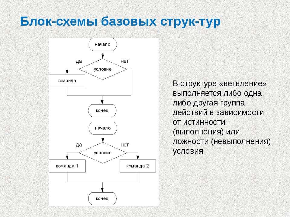 Блок-схемы базовых струк тур В структуре «ветвление» выполняется либо одна, л...
