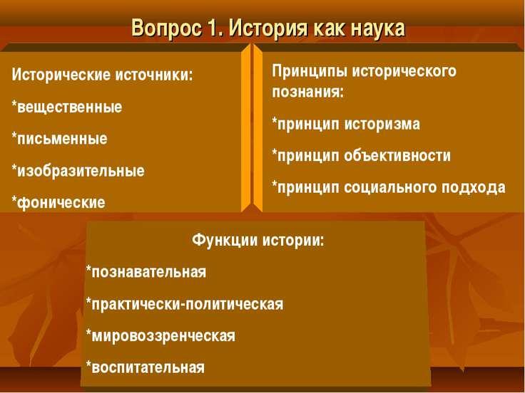 Вопрос 1. История как наука Исторические источники: *вещественные *письменные...