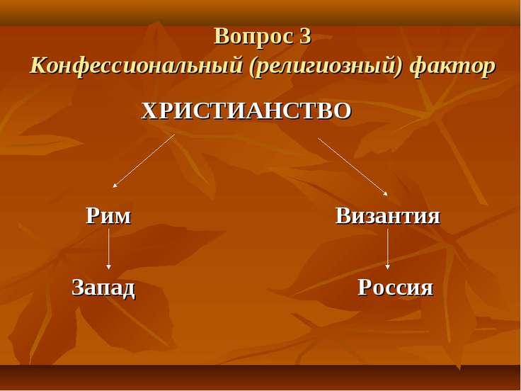 Вопрос 3 Конфессиональный (религиозный) фактор ХРИСТИАНСТВО Рим Византия Запа...
