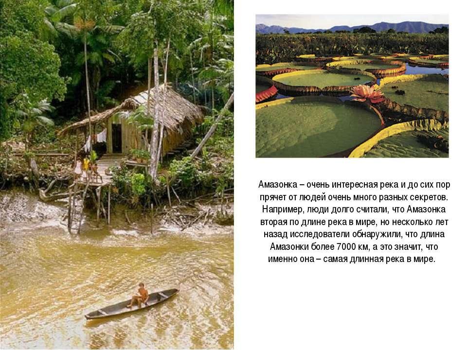 Амазонка – очень интересная река и до сих пор прячет от людей очень много раз...